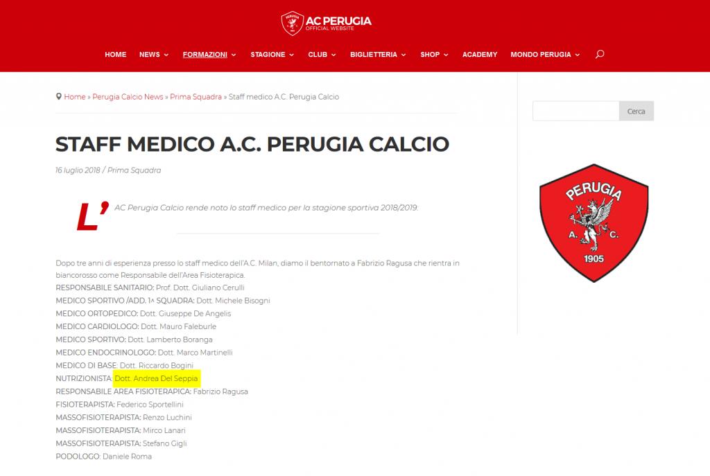 A.C. Perugia Calcio: Nutrizionista Dott. Andrea Del Seppia e lo Staff medico stagione 2018/2019