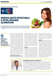 """Articolo """"Irregolarità intestinali e intolleranze alimentari"""" di Andrea Del Seppia"""