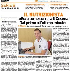 Intervista al Dott. Andrea Del Seppia, Nutrizionista Ufficiale prima squadra A.C. Cesena Calcio, serie B, stagione 2015-2016