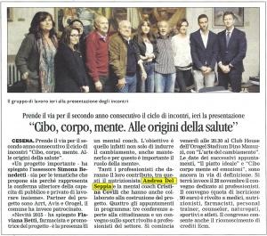 """Corriere di Forlì e Cesena - Incontro """"Cibo, corpo, mente"""" con Andrea Del Seppia"""