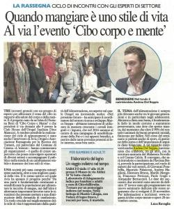 """Il Resto del Carlino - Andrea Del Seppia Relatore Conferenze """"Cibo, corpo, mente"""""""
