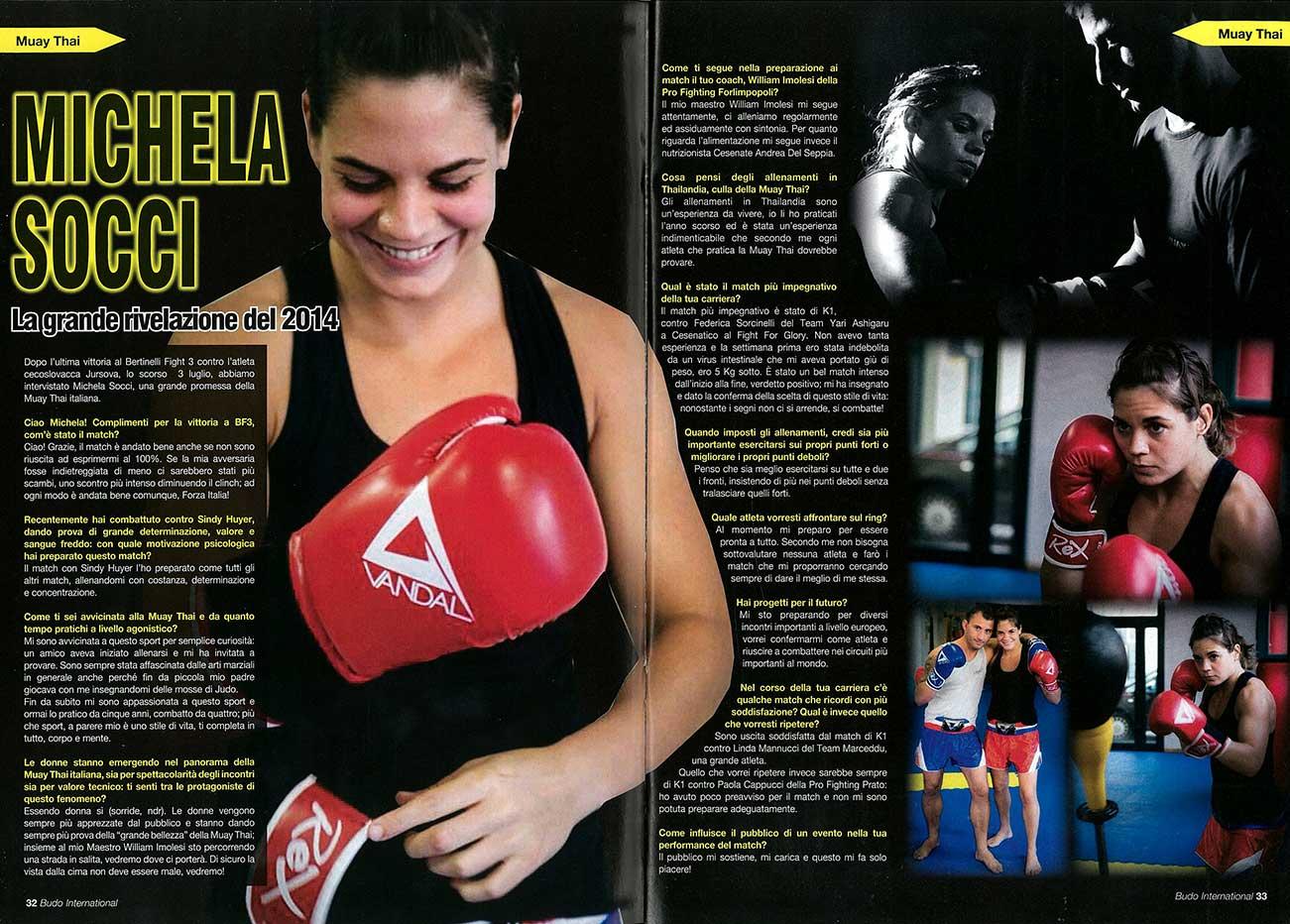 Intervista a Michela Socci, campionessa di muay thai sulla prestigiosa rivista Budo International