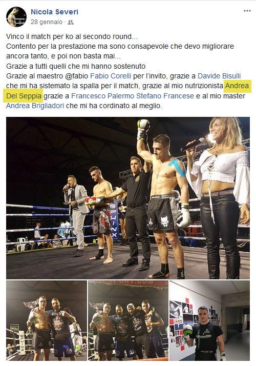 """Nicola Severi vincitore del titolo """"King of the Ring 2018"""" di Muay Thai Boxe, a Rimini. Nicola Severi ringrazia i suoi preparatori tecnici, tra cui il Nutrizionista Dott. Andrea Del Seppia"""
