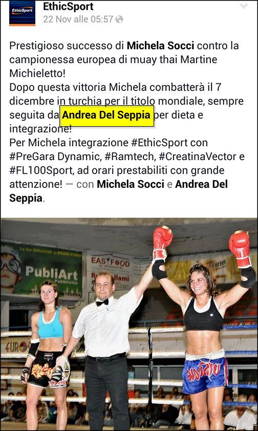 Nutrizionista Andrea Del Seppia: Michela Socci vince contro la Campionessa Europea Martine Michieletto