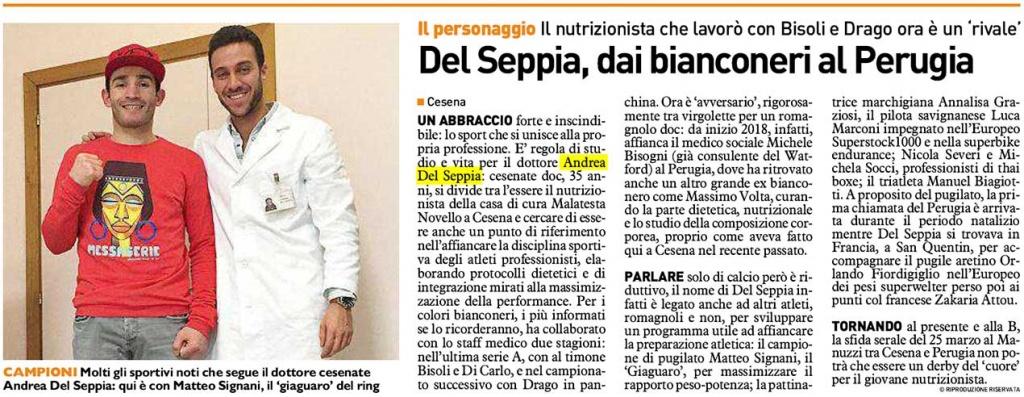Il Resto del Carlino - Andrea Del Seppia diventa il nuovo Nutrizionista Ufficiale del Perugia Calcio