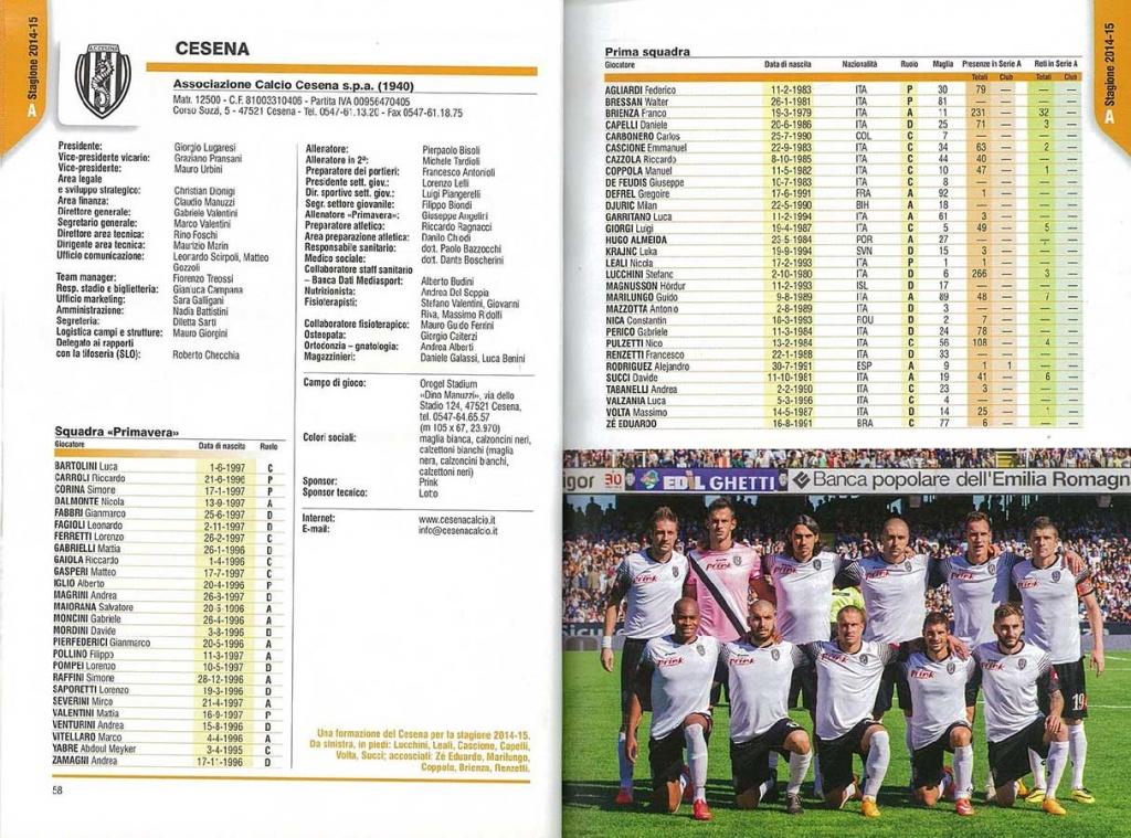 A.C. Cesena Calcio, nell'Almanacco Panini - Serie A 2014-2015. Pagina organico squadra, tra cui il Dott. Andrea Del Seppia.