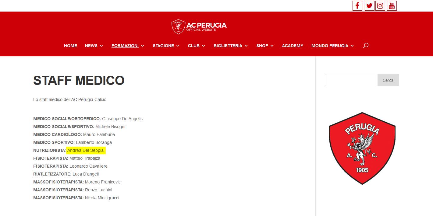 A.C. Perugia Calcio: Nutrizionista Dott. Andrea Del Seppia e lo Staff medico stagione 2017/2018