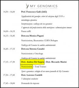 Programma Congresso Nutrigenomica Teoria Pratica, Bologna - Andrea Del Seppia Nutrizionista