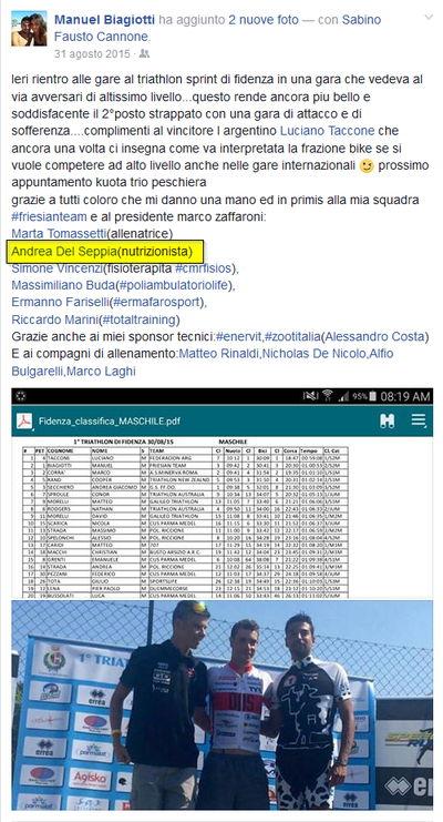 Ringraziamenti di Manuel Biagiotti allo staff tecnico, tra cui il Dott. Andrea Del Seppia