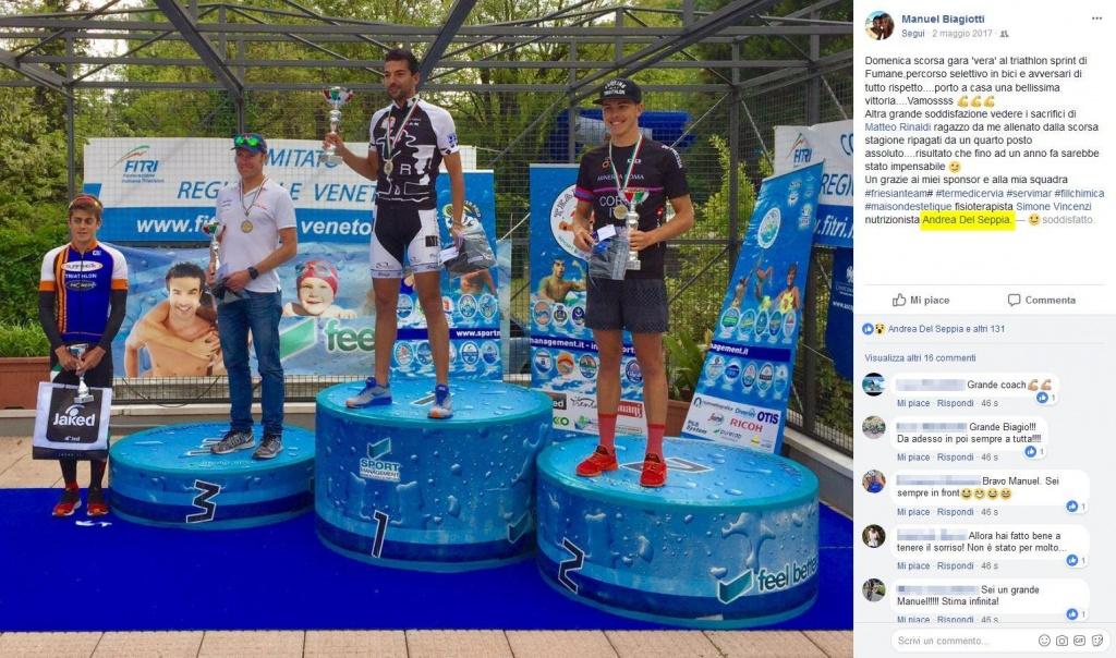 Ringraziamento di Manuel Biagiotti allo staff tecnico, fra cui il Nutrizionista Dott. Andrea Del Seppia, dopo aver conquistato il primo posto allo Sprint Triathlon 2017 di Fumane