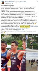Ringraziamento di Manuel Biagiotti allo staff tecnico, fra cui il Dott. Andrea Del Seppia, dopo il terzo posto al Triathlon Sprint del Challenge Rimini 2017