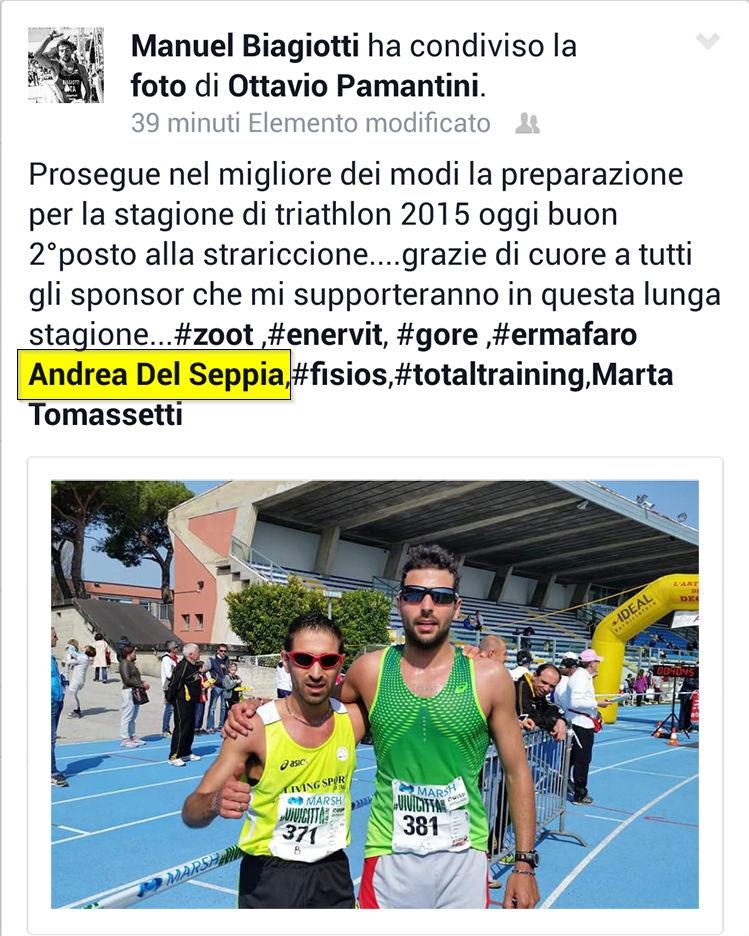 Ringraziamenti di Manuel Biagiotti a sponsor e staff tecnico, tra cui il Dott. Andrea Del Seppia